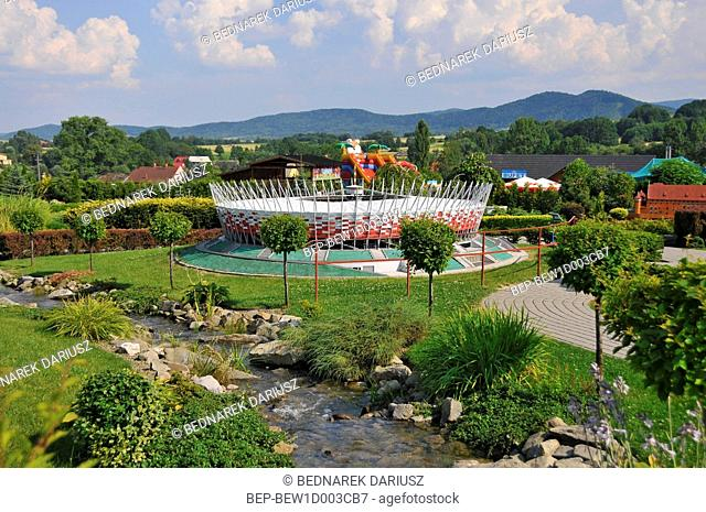 The National Stadium. Miniature Park swiat Marzen in Inwald, Lesser Poland Voivodeship, Poland