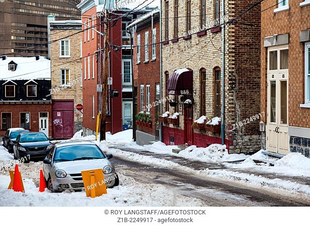 Quebec City side street during the winter season