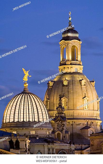 Germany, Dresden, College of Fine Arts and Frauenkirche at night