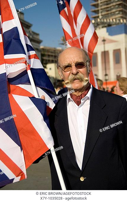 Ted Sedman, at a parade showcasing contestants in the World Beard and Moustache Championships, 2007, in London, England