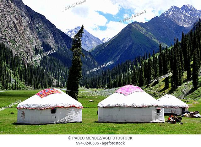 Yurts in base camp of Karakol mountains, Kyrgyzstan