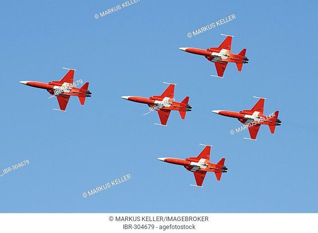 Formation flight with the aerobatic team Patrouille Suisse - Dittingen, Switzerland, Europe