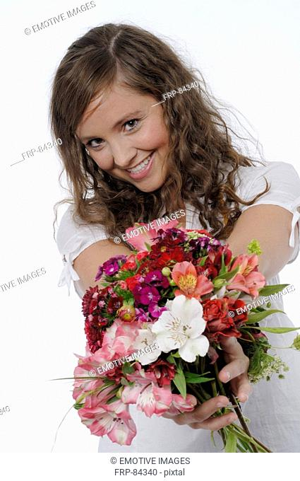 Girl with bunch of flower
