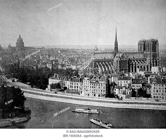 Early autotype of Notre Dame cathedral, Paris, France, 1880