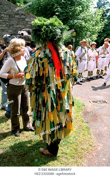 A 'Green Man' and Morris Dancers, Ashford in the Water, Derbyshire