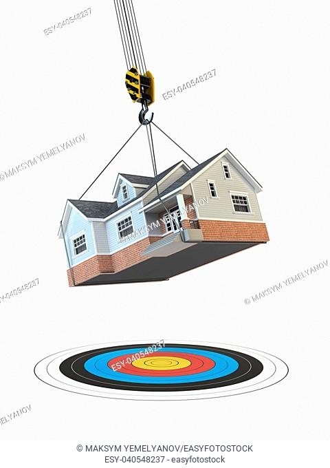 Moving home. Crane with house and target isolated on white. Change of residence. Real estate concept. 3d illustration