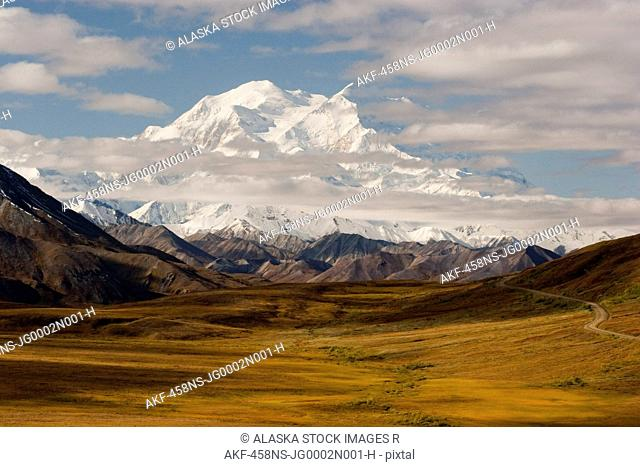 Scenic view of Mt. McKinley and the Park Road from Stony Dome, Denali National Park, Interior Alaska, Autumn