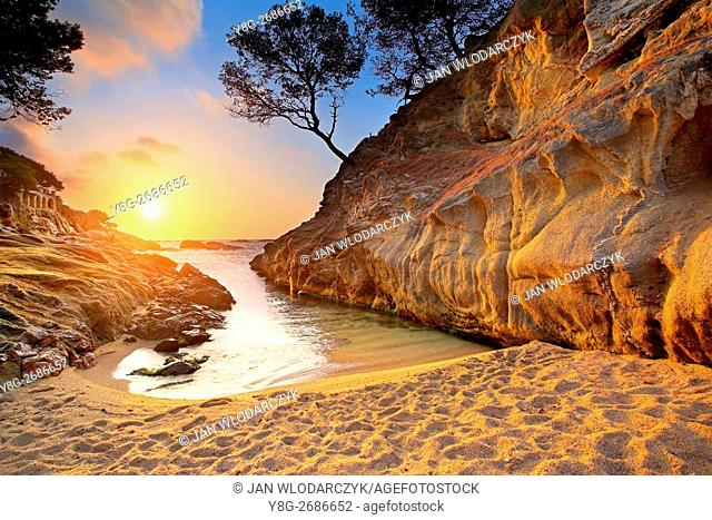 Sunrise at Costa bava beach, Spain