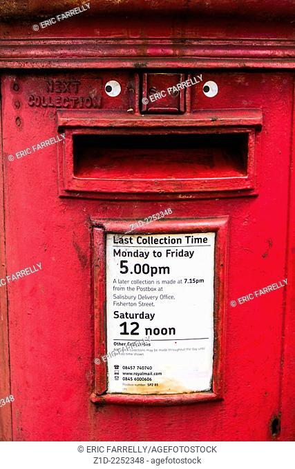 old unpainted Red post box. Salisbury England