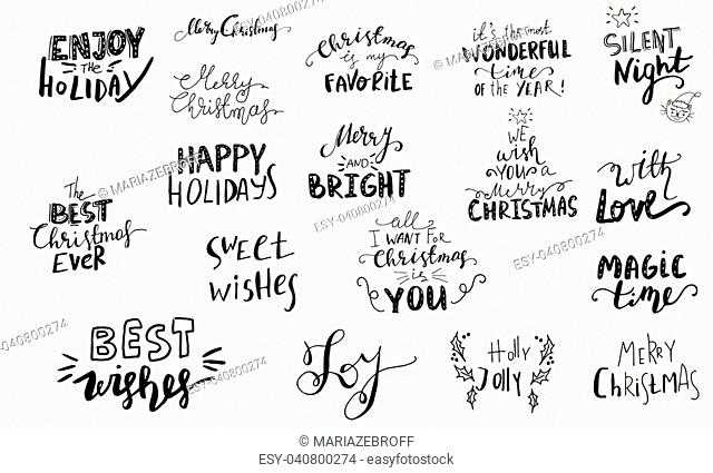 Set of Christmas lettering handwritten with bouncing letters vector illustration