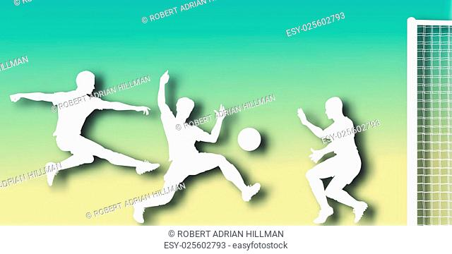 Editable vector cutout of action in a football match with background made using a gradient mesh