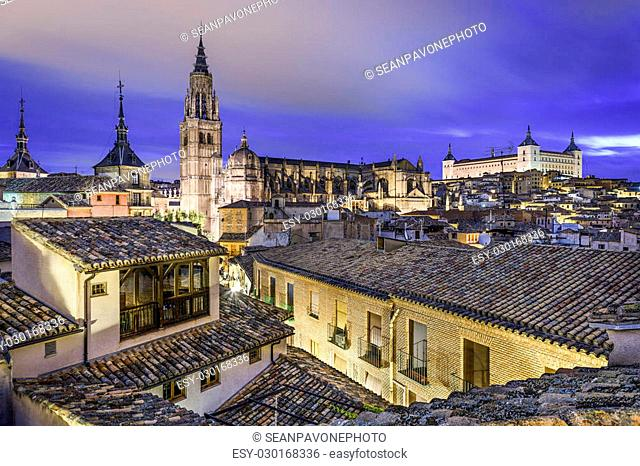 Toledo, Spain town skyline with the Cathedral and Alcazar in the early morning
