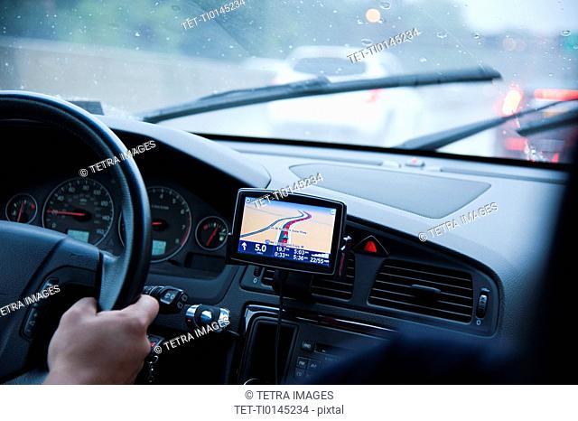 Car interior with GPS