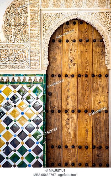 Detail of Islamic (Moorish) tilework at the Alhambra, Granada, Spain