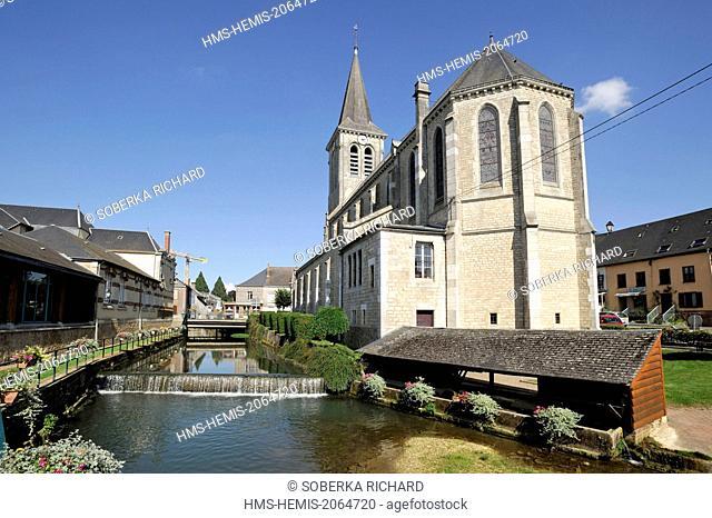France, Ardennes, Signy l'Abbaye, church Saint Michel with the Vaux river and the old laundry on the side