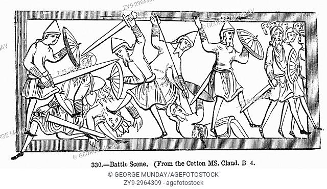 A scene of the fighting between the Normans of King Williiam I and King Haold's Anglo Saxon army during the Battle of Hastings in 1066