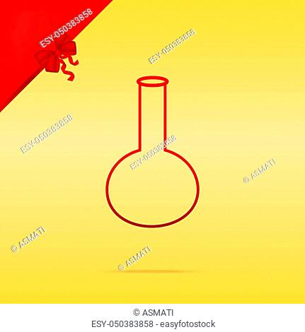Tube. Laboratory glass sign. Cristmas design red icon on gold background