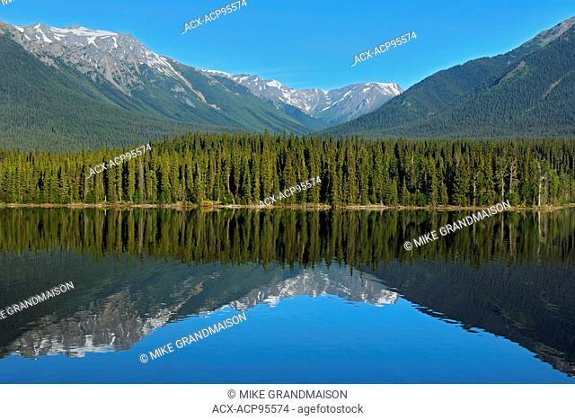 Coast Mountains and Eddontenajon Lake near Iskut along the Stewart Cassiar Highway British Columbia Canada
