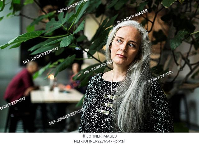 Portrait of woman with long grey hair