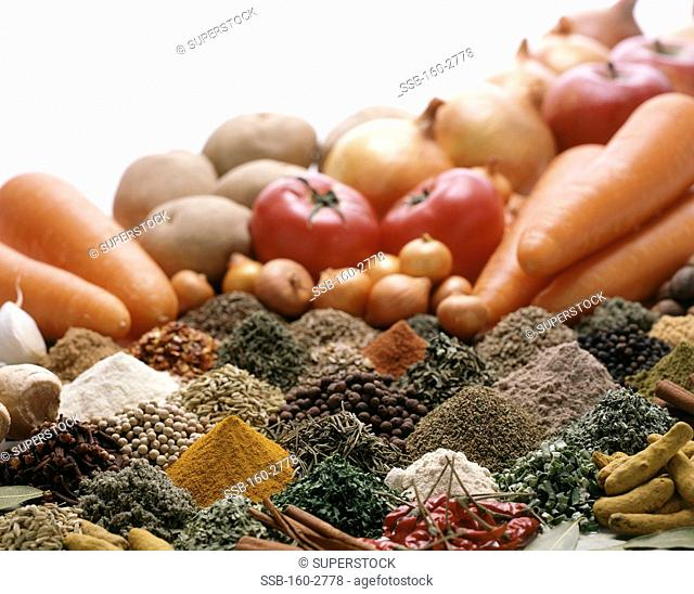 Close-up of spices and vegetables