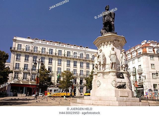 Portugal, Lisbon, statue by Luiz de Camoes , yellow tram, electrico , Barrio Alto