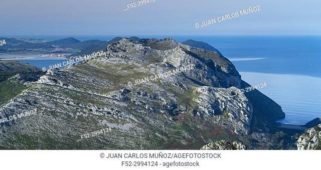View of Mount Candina from Mount Cerredo, Cantabrian Sea, MONTAÑA ORIENTAL COSTERA MOC, Castro Urdiales, Cantabria, Spain, Europe