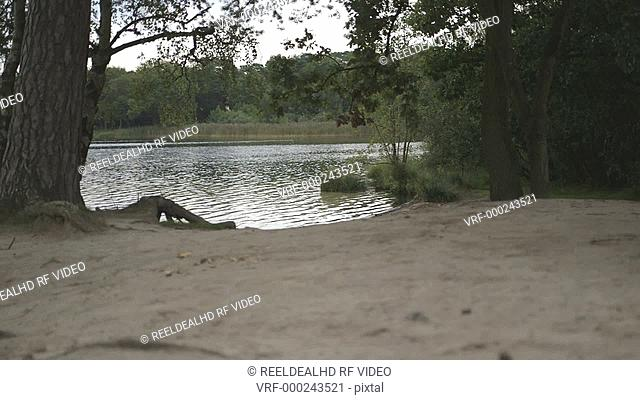 Young couple running towards river and having fun