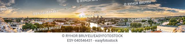 Vilnius, Lithuania. Sunset Sunrise Dawn Over Cityscape In Evening Summer. Beautiful Panorama Of Modern Office Buildings Skyscrapers In Business District New...