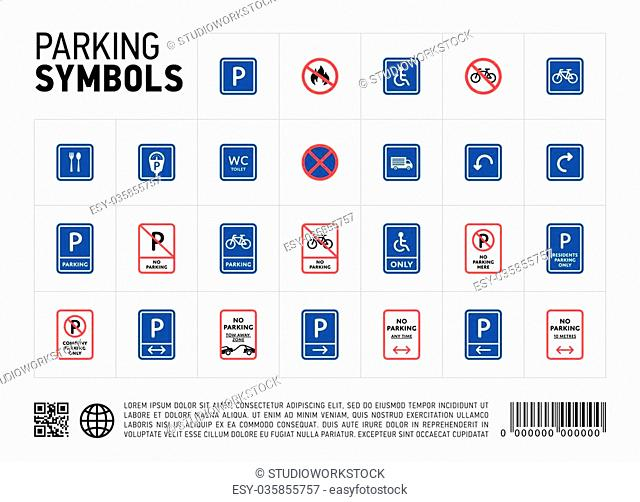 Parking zone sign isolated icon set. Transport zona symbol. Traffic area. Roadsign collection