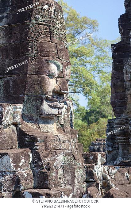 Face of Avalokiteshvara, Bayon temple, Angkor Thom, Angkor, Siem Reap, Cambodia