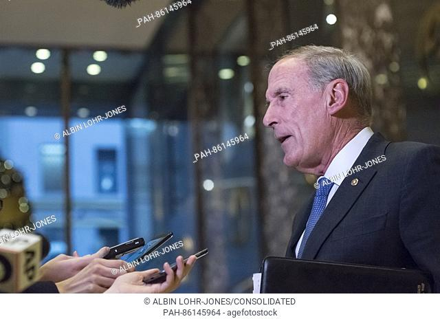 United States Senator Dan Coats (Republican of Indiana) speaks briefly with the press following his meeting with US President-elect Donald Trump