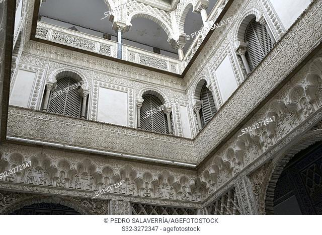 Courtyard in the Reales Alcazares, Seville, Andalucia, Spain