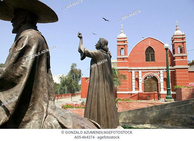 Monument to Chabuca Granda and Iglesia La Ermita. Barranco. Lima. Perú