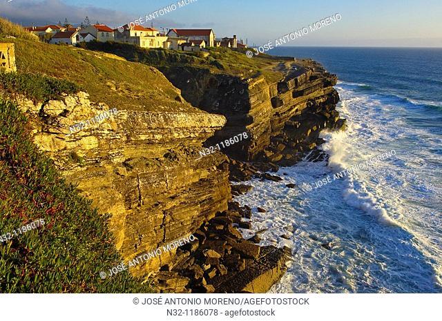 Azenhas do Mar, Cliffs at Praia das maças  das maças Beach, Colares, Lisbon district, Sintra coast, Portugal, Europe