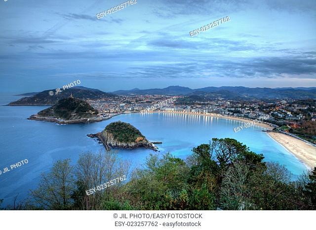 La Concha Bay seen from Igeldo Mount. Donostia-San Sebastian. Basque Country. Gipuzkoa. Spain. Europe