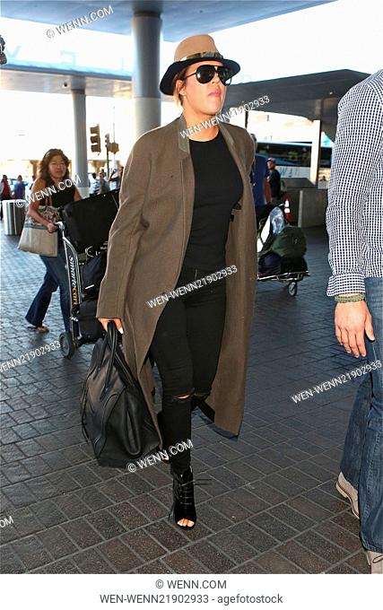 Khloe Kardashian departs from Los Angeles International Airport (LAX) carrying a Celine tote Featuring: Khloe Kardashian Where: Los Angeles, California