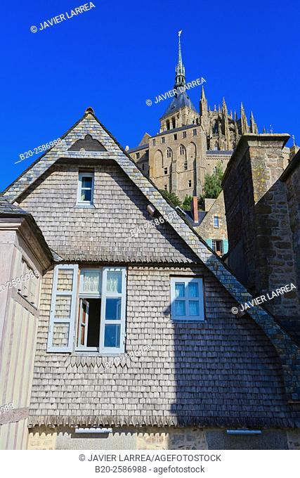 Mont Saint Michel, St Michael's Mount, Manche Department, Basse-Normandie region, Normandy, France