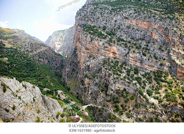 Raganello river canyons, Pollino National Park, panoramic view from Civita, Calabria, Italy