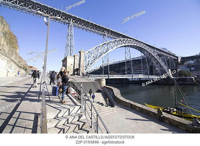 Dom Luis I bridge in Ribera district is World Heritage site in Oporto, Portugal