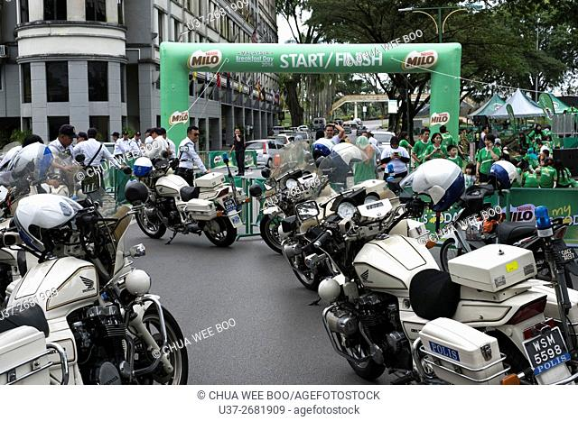 Police motorcycles parked at Padang Merdeka during The Malaysia Breakfast Day event in Kuching, Sarawak, Malaysia