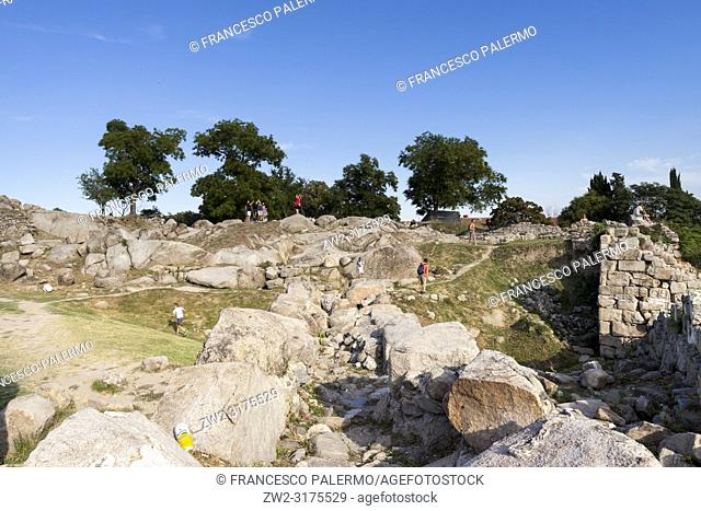 Tourists visit the old ruins of the city. Plovdiv, Bulgaria