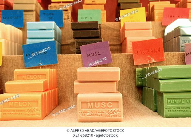 Marseille soap bars at fair. Caldes de Montbui, Barcelona province, Catalonia, Spain