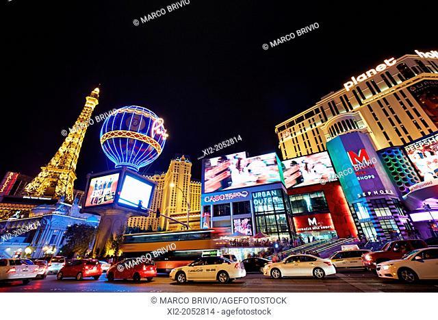 The Strip by night. Las Vegas, Nevada, USA