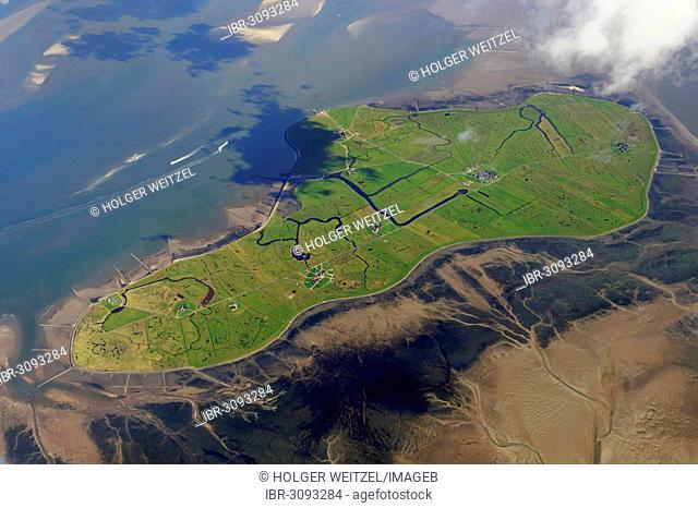 Aerial view, Hallig Hooge, small island in the Schleswig-Holstein Wadden Sea