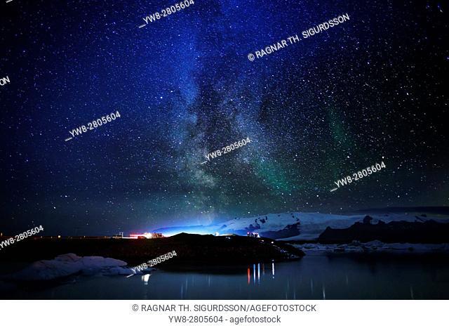 Milky way and Aurora Borealis, Jokulsarlon Glacial Lagoon, Iceland