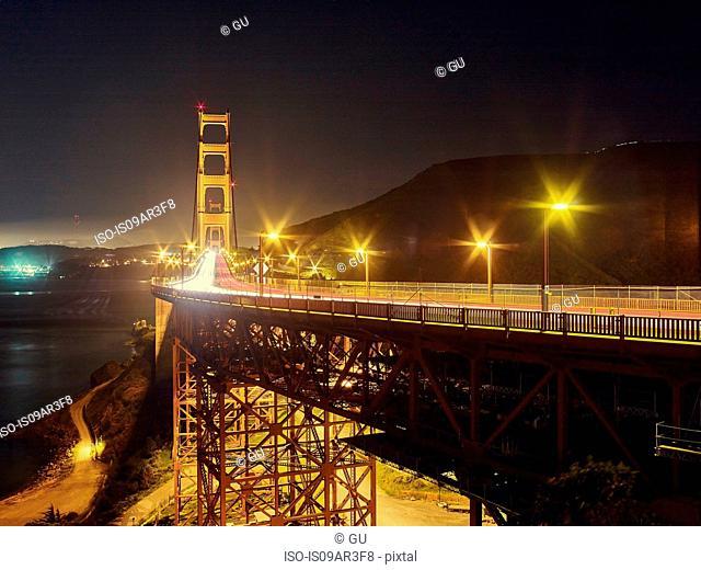 Golden Gate Bridge at night, San Francisco, California, USA