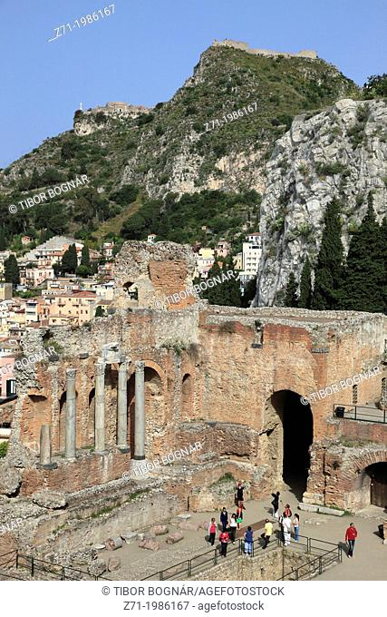 Italy, Sicily, Taormina, Greek Theatre, Saracen Castle, people,