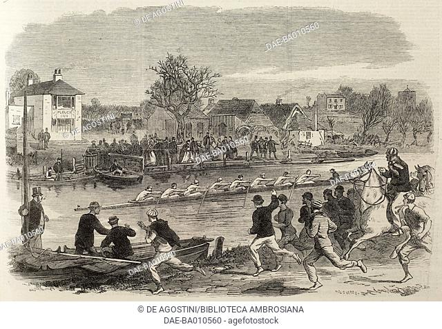 The Cambridge University Eight (rowing) training on the Cam, United Kingdom, illustration from the magazine The Illustrated London News, volume XLVIII, March 17