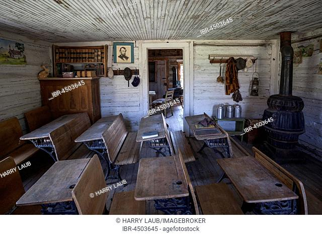 Old Classroom, Wild West open-air museum, Nevada City Museum, former gold mining town, Ghost Town, Montana Province, USA