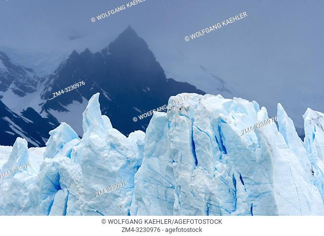 View of the crevasses of the Perito Moreno Glacier in Los Glaciares National Park near El Calafate, Argentina